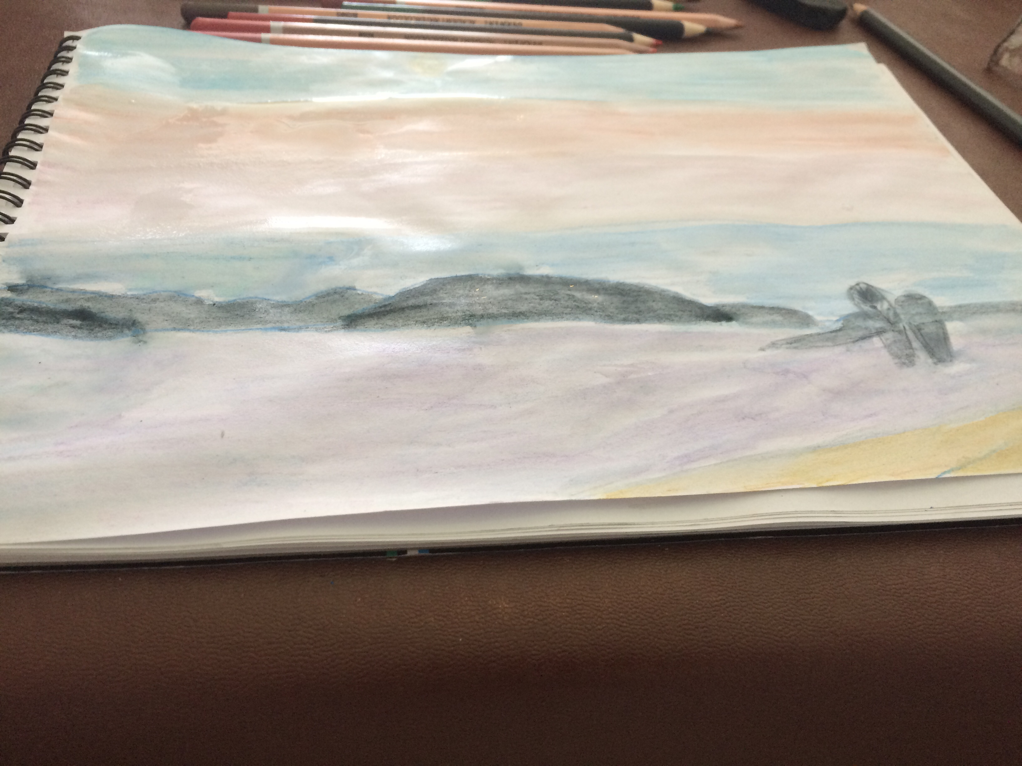 Nidri bay watercolour pencil