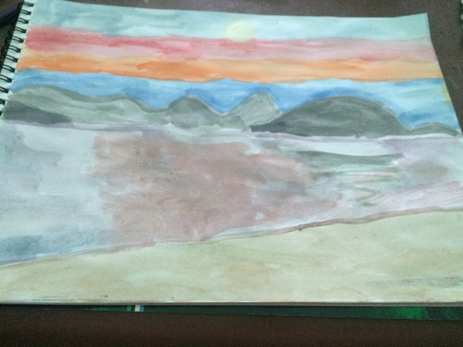 Nidri bay watercolour paint