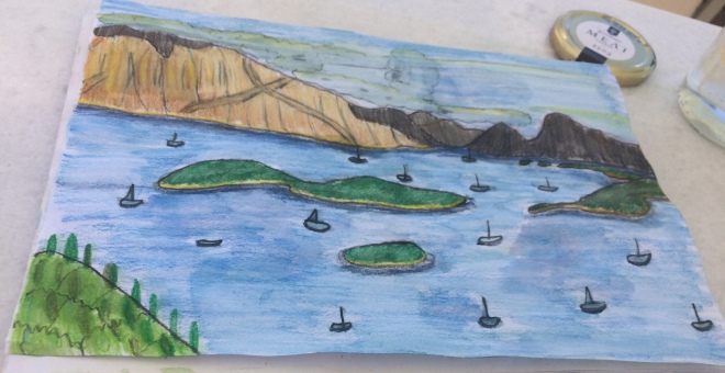 Nidri bay in watercolour