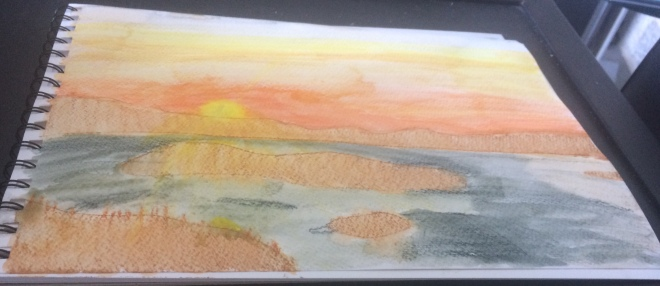 The sunset over the Princess Islands. Watercolour