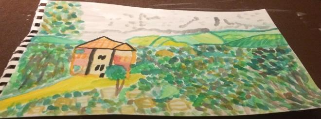 On Nidri hill watercolour paint