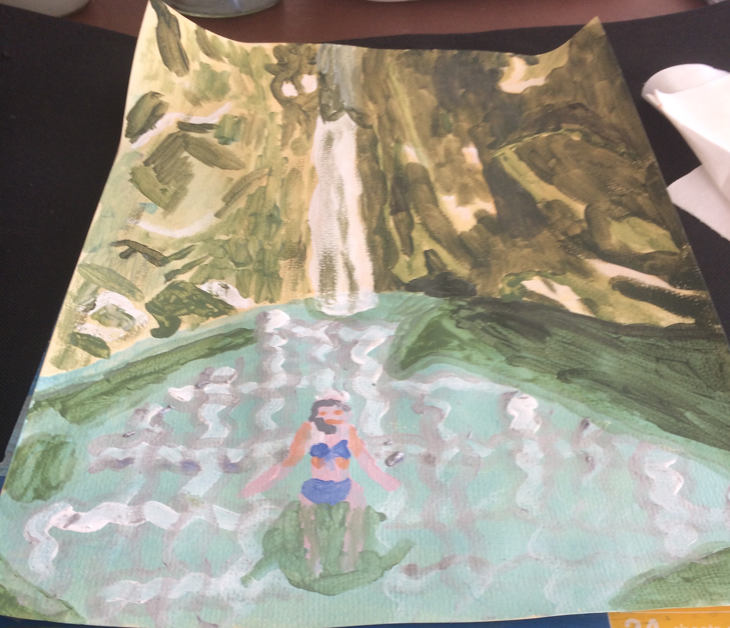 Dimosari waterfall acrylic paint
