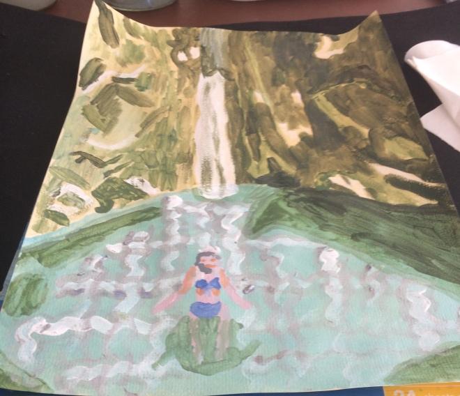Dimosari waterfall acrylic paint