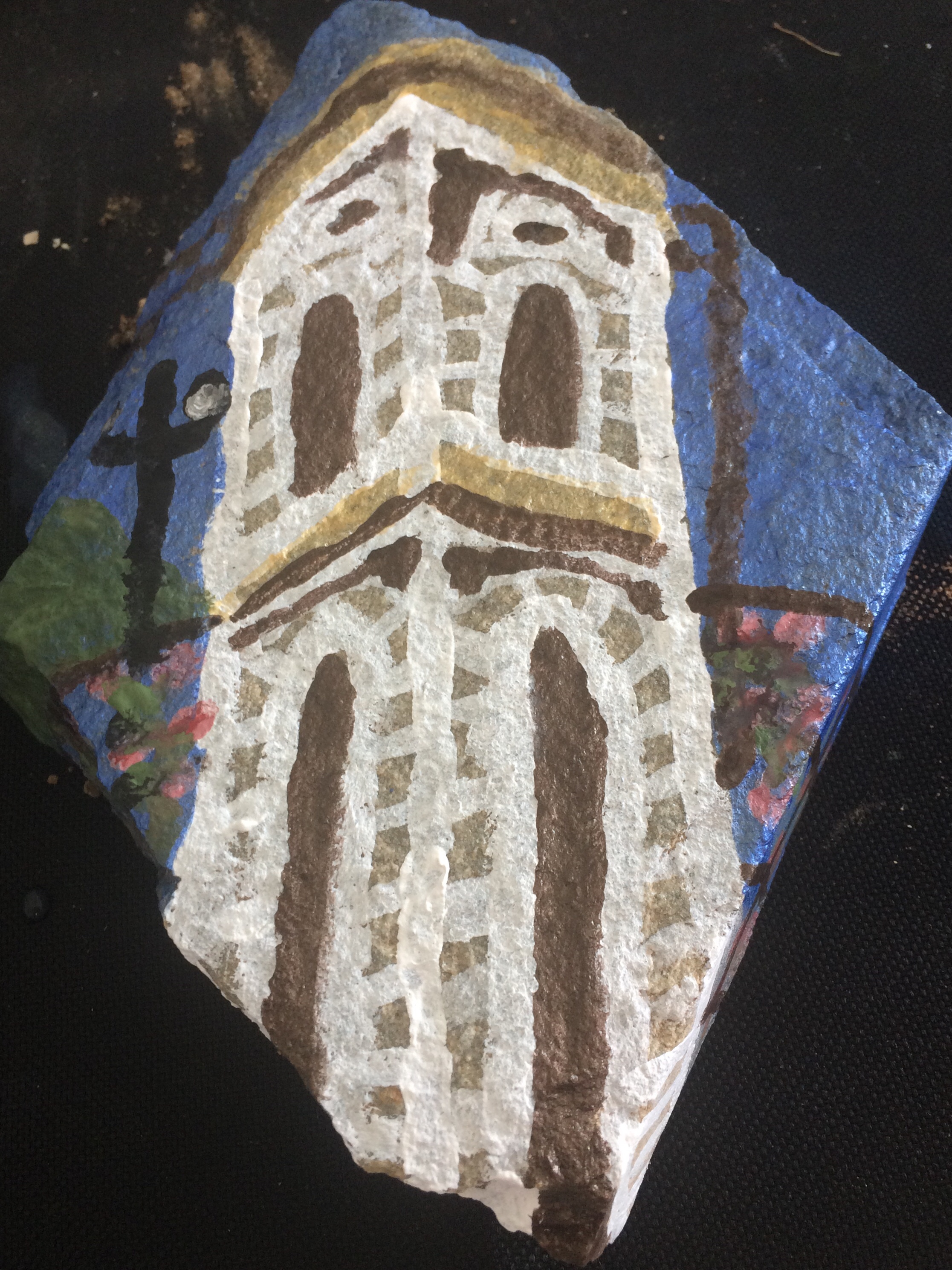 Vasiliki bell tower acrylic paint on stone
