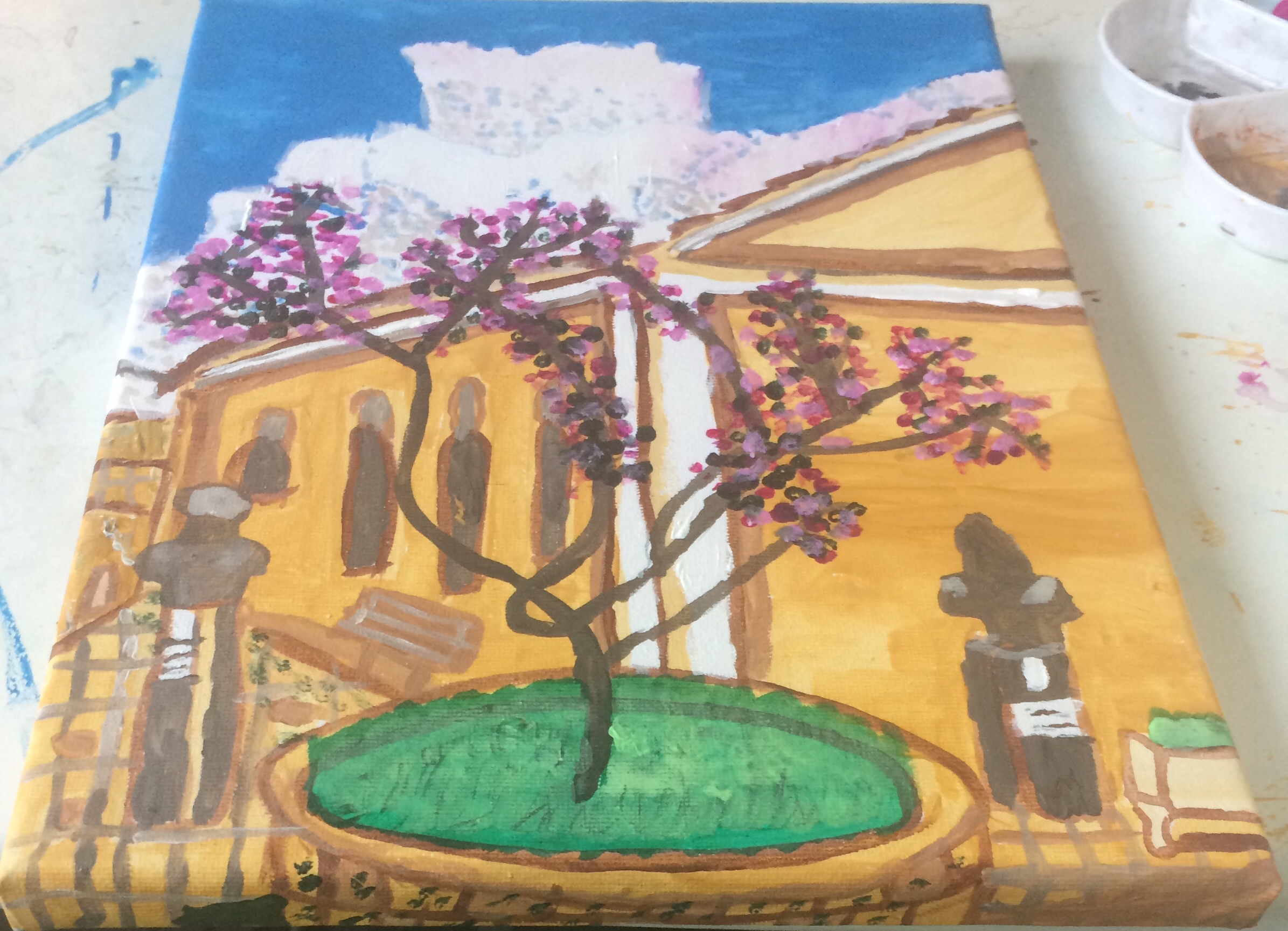 Lefkás town acrylic paint on canvas