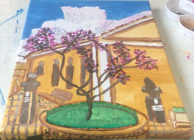 Lefkás town acrylic paint on canvas