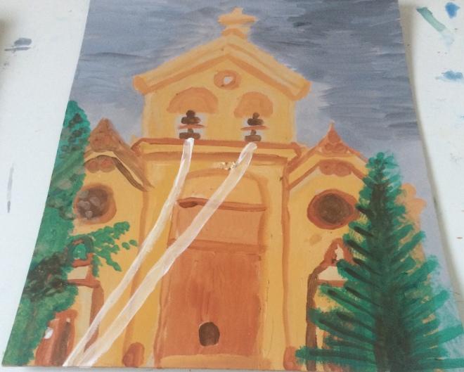 Cypriot church gouache on card