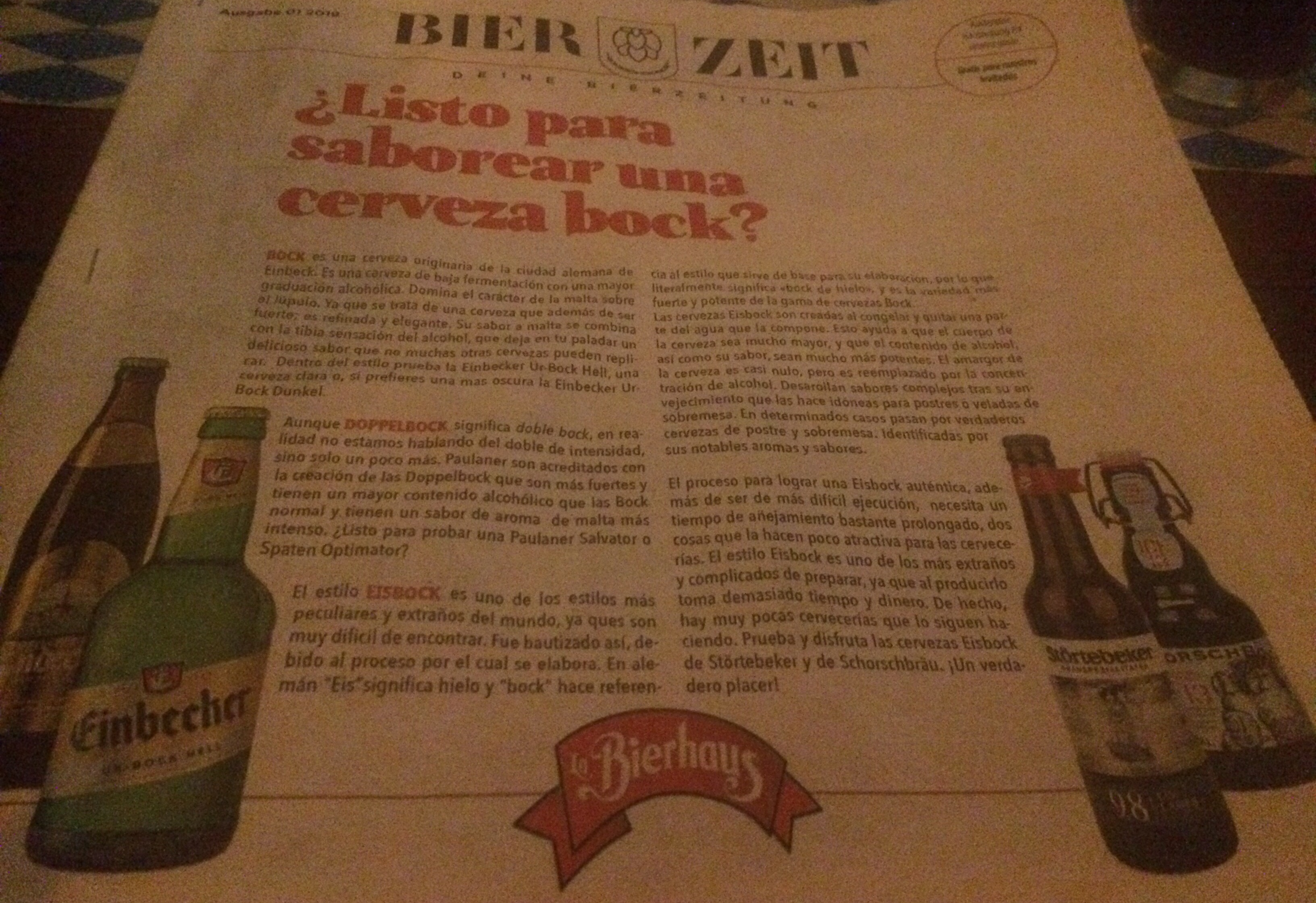 Article in Spanish on German bock style beer
