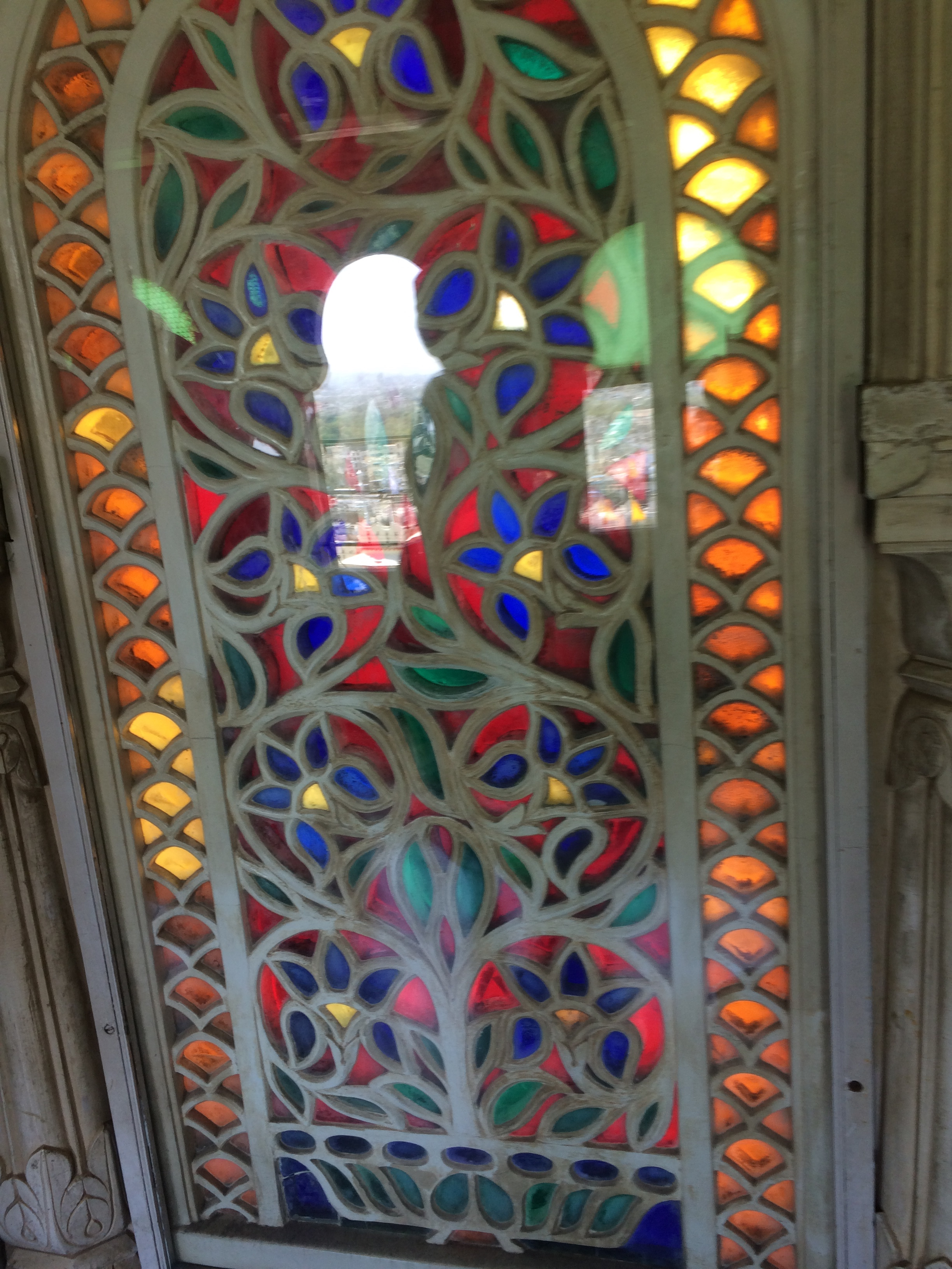 Mosaic multicolored stained glass window